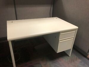 Details About 48 W X 30 D Single Pedestal Metal Desk By Hon Office Furniture W Laminate Top