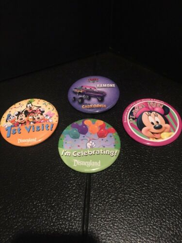 B3 Lot of 4 DIFFERENT Disneyland Collector Pinback Buttons