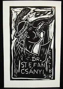 Ex-Libris-Engraving-on-Wood-C-1970-in-Stefan-Csanyi-Dresden-Dresden-Germany