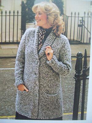 """Collar 50/"""" Raglan Sleeve Womans Long Jacket//Coat 38/"""" Pockets Chunky Wool"""
