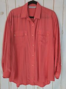 Laura-And-Jayne-Blouse-18-Silk-Crinkle-Salmon-ButtonDown-Rollup-Button-3-4-Slv