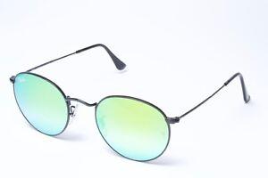 94e99d7796231 Ray-Ban RB3447 002 4J Black Green Gradient Flash Round Sunglasses ...