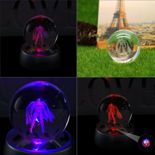 3D Batman Crystal Night light Bedroom Led Table Lamp Gift 50mm  Justice League