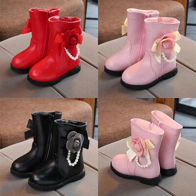 Children Girls Kids Baby Winter Warm Boots Princess Shoes Mid Calf Party Dress