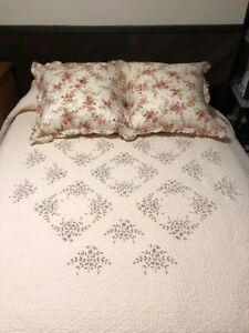 Cream-Embroidered-Quilt-amp-Shams-from-Neiman-Marcus-Gently-Used-104-034-x-92-034