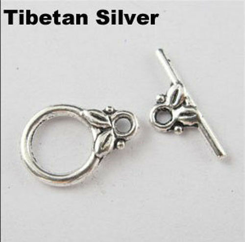 20Set Tibet Silver,Gold,Bronze Smooth Ring Leaf Connector Toggle Clasps