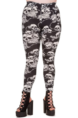 Skull /& Roses Gotico Punk Rockabilly Rock Taglie Forti Leggings by Banned Apparel