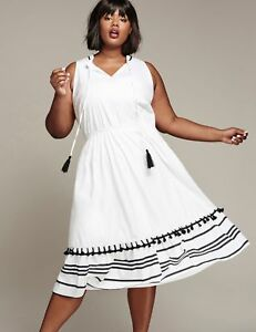 Details about NEW LANE BRYANT PLUS SIZE GLAMOUR X SOFT CREAM TASSEL MIDI  DRESS SZ 18/20 2X