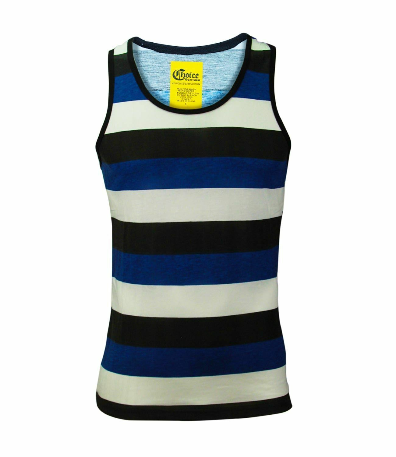 Summer Men/'s Vest Simple Striped T-shirt Beach Gym Fitness Sports Vest Tops