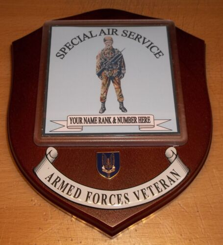 rank and number Special Air Service Veteran Wall Plaque with name
