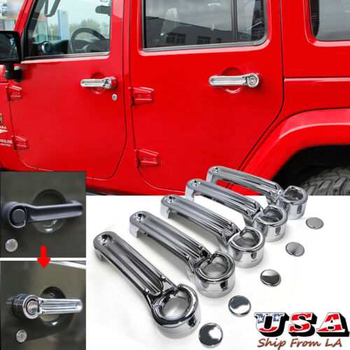 5PCS Chrome 4 Door Tailgate Handle ABS Cover Trim for 2007-2017 Jeep Wrangler