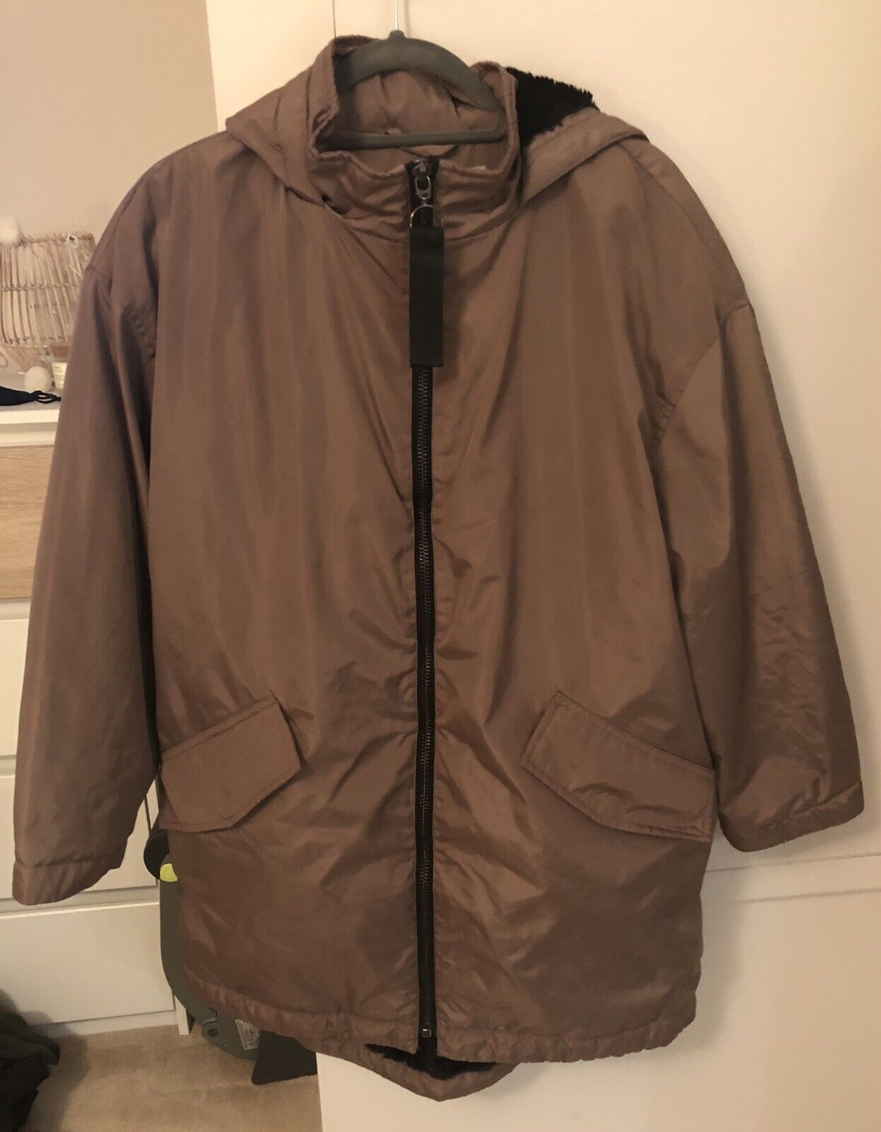 Asos Womens Petite Shower Proof Jacket Size 14 Black-brown