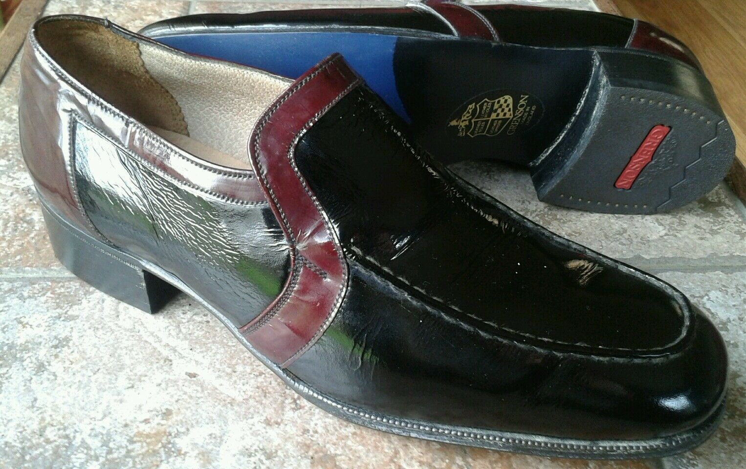 Zapatos de Cuero Grenson Top Gallants Hecho a Mano Negro y Borgoña UK Talla 8