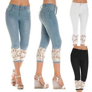 Plus-Size-Women-Slim-Fit-High-Waist-Denim-Lace-Cropped-Capri-Trousers-Jeans-Pant