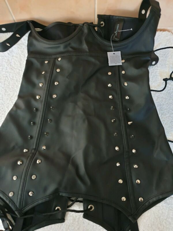 Ann Summers Leather Look Open Cup Studded Black Corset Basque Size Small 8 -10