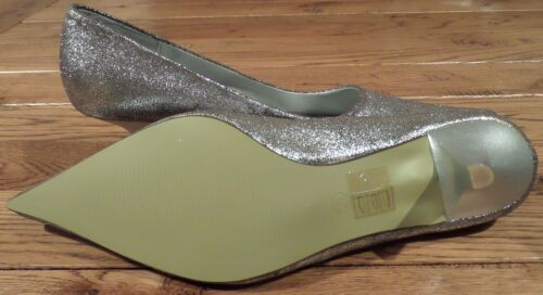 Jessy Ross Silver sparkle mid high heel court shoe pointed toe