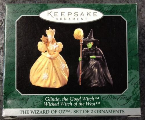 """GLINDA AND WICKED WITCH"" 1997 HALLMARK MINIATURE ORNAMENT SET QXM4233 NIB"