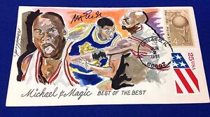 Magic Johnson Signed 1991 Hand Painted Wild Horse Cachet 106 of 185 PSA V30479