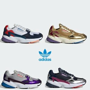 reputable site 9873c fcccb Image is loading Adidas-Falcon-Running-Retro-Shoes-Sneakers-Gold-Navy-