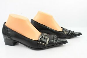 8165674280a Details about Court shoes Small Heel SPIRAL Black Leather T 38 MINT