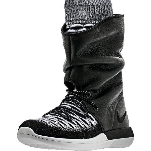 Nike Roshe Two Hi Flyknit Women's Boots Size 8.5 Mod.Black - White