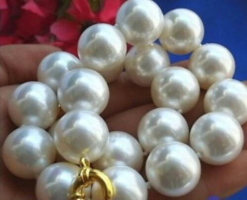 "mers du sud Blanc Shell collier de perles 20/"" Énorme 20 mm AAA"