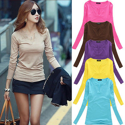 Fashion Women Sexy V Neck Blouse T Shirt TEE Loose Casual Long Sleeve Shirt Tops