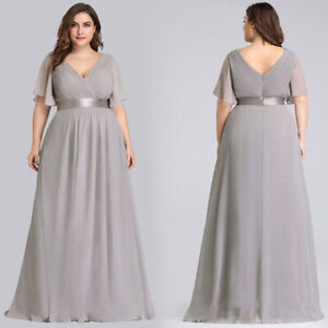 Details about Ever-Pretty Grey Long Plus Size Dresses Chiffon Formal V-Neck  Evening Gown 09890