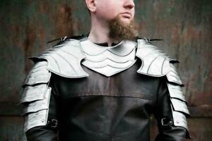 Medieval-Pair-of-pauldrons-amp-metal-gorget-elf-armor-for-fantasy-cosplay-shoulder