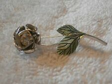 Rhinestone Brooch Pin Rose designer Avon SH crystal clear stone silver tone