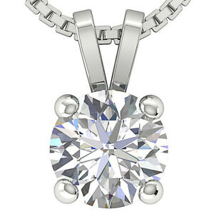 I1-H-1-00-Ct-Round-Diamond-Solitaire-Pendant-Necklace-14K-White-Gold-Prong-Set