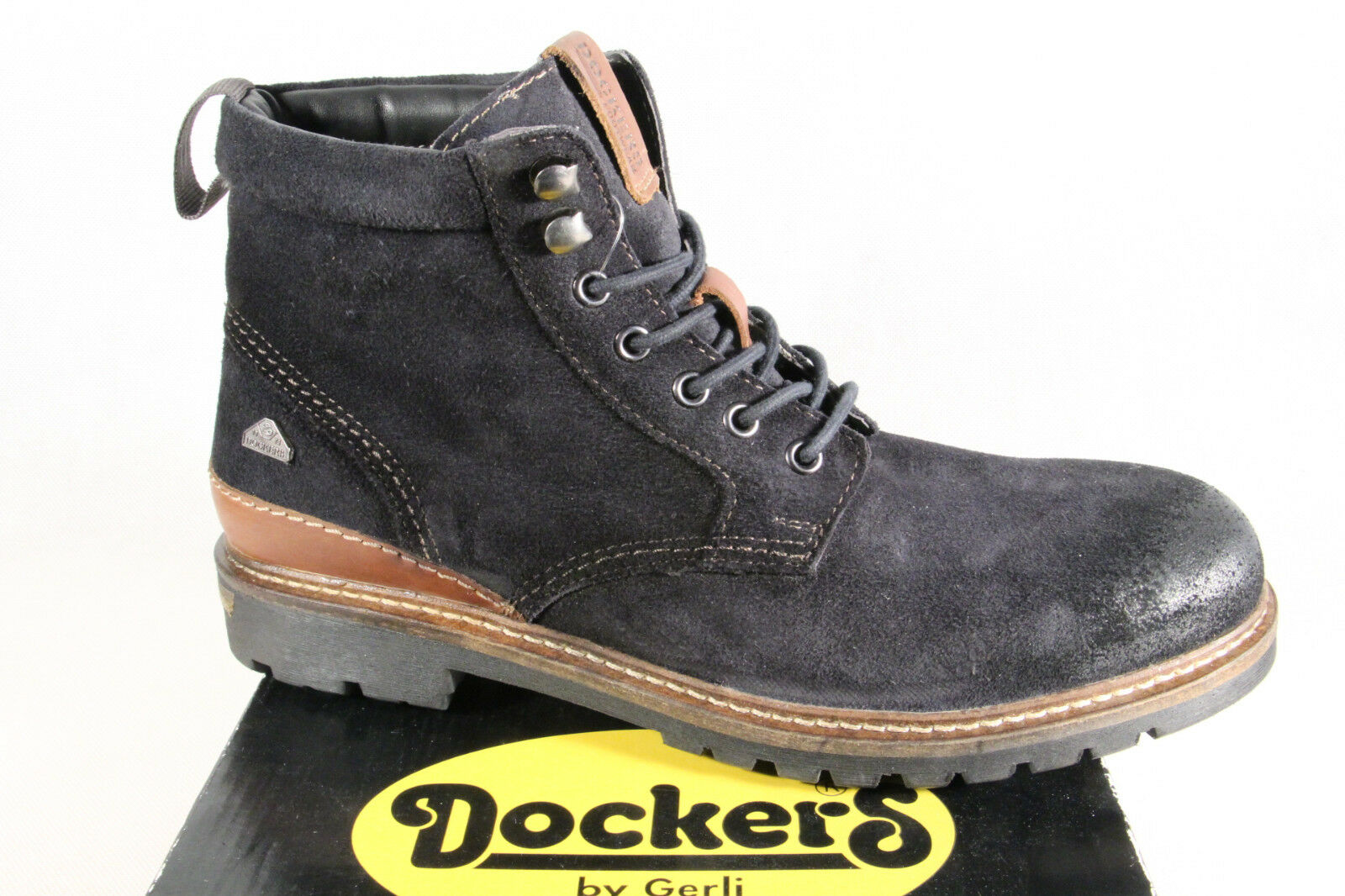 Dockers Stiefel Schnürstiefel Boots Winterstiefel blau Leder used look NEU