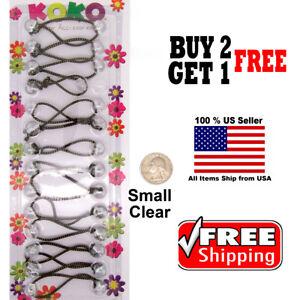 Clear-Braid-Girls-Kids-Scrunchie-Small-Beads-Hair-Tie-Ball-Ponytail-Holder-Bands
