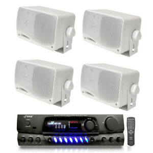 Pack-of-4-PYLE-PLMR24-200W-Outdoor-Speakers-PT260A-200W-Stereo-Theater-Receiver