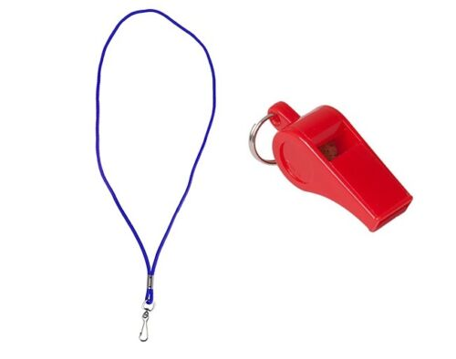 Water Gear Whistle And Lanyard Life Guard Emergency YMCA Pool Swim Coach Soccer