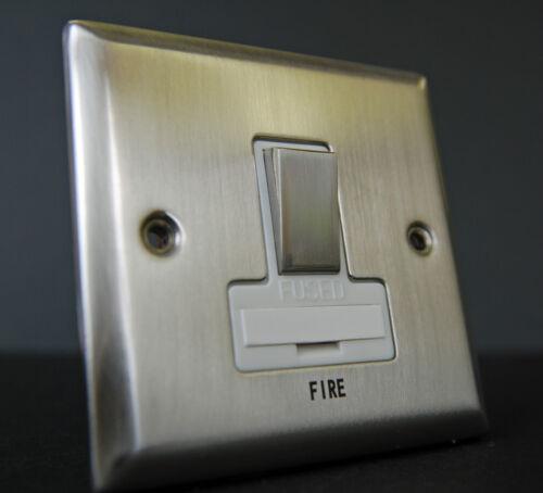 13 Amp commuté Fusible éperon du collecteur principal d/'incendie Chrome Brossé Blanc Avec Insert