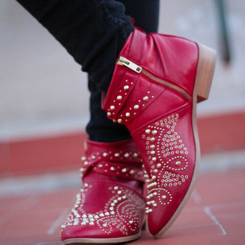 ZARA Red Leather Studded Rocker Biker Ankle Boots rare sold out ALL SIZES