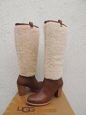 UGG CHESTNUT TALL AVA EXPOSED FUR LEATHER HIGH HEEL BOOTS, US 8/ EUR 39 ~ NEW