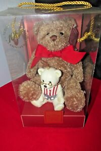 PLUSH BEAR & IVORY CHINA BEAR ORNAMENT BY LENOX