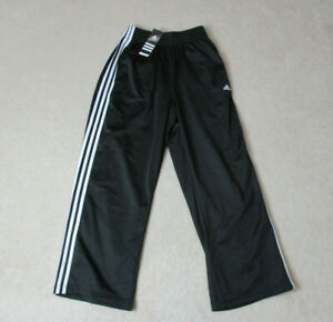 NEW-Adidas-Track-Pants-Adult-Small-Black-White-Stripes-Spell-Out-Warm-Up-Mens