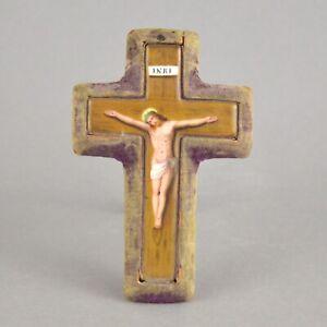 Miniature-crucifix-ancien-en-porcelaine-et-tissue-19eme