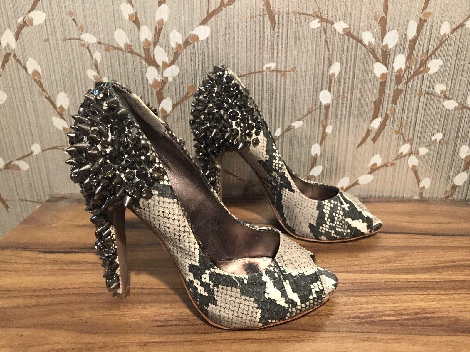Sam Edelman Lorissa Snake Crystal Metal Studded Peep Toe High Heel shoes 6M  250