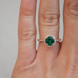 d4cf531cd4560 Details about Anniversary Yellow Gold Finish 1.8 Ct Green Diamond Halo  Vintage Engagement Ring