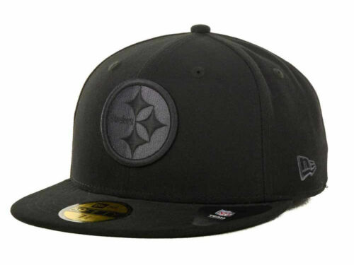 All Black PIttsburgh STEELERS New Era 59Fifty Fitted NFL Hat