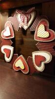 12 Hearts Hanging Wreath Door Decor Look Of Wood Rustic Red Primitive