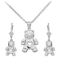 Sterling Silver Open Heart Love Bear Pendant Necklace & Matching Earrings