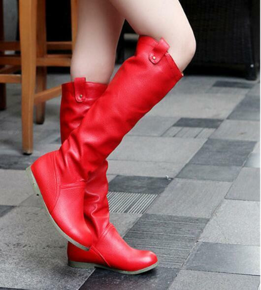 Womens Flat Oxford Slouchy Pleated Long Casual Knight Knee High Boots Cosplay T8