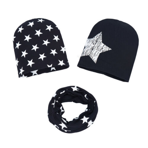 Cotton Stars Hat Printed 3 Pcs Caps+Scarf Warp For Baby Toddler Boys Girls New