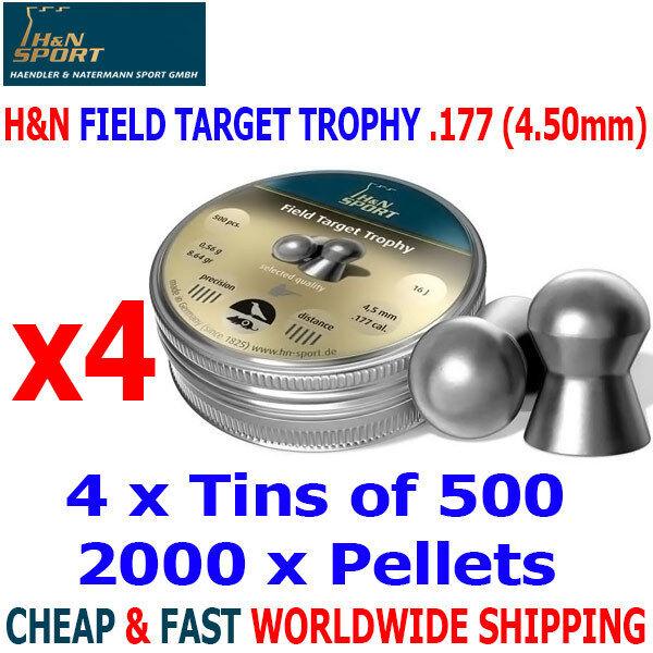 H&N FIELD TARGET TROPHY .177 4.50mm Airgun Pellets 4(tins)x500pcs