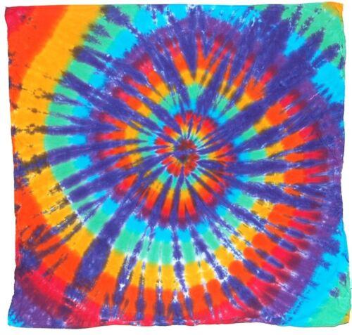 "Rainbow Spiral Tie Dye Bandanna scarf 22/""X22/"" grateful dead handmade custom art"